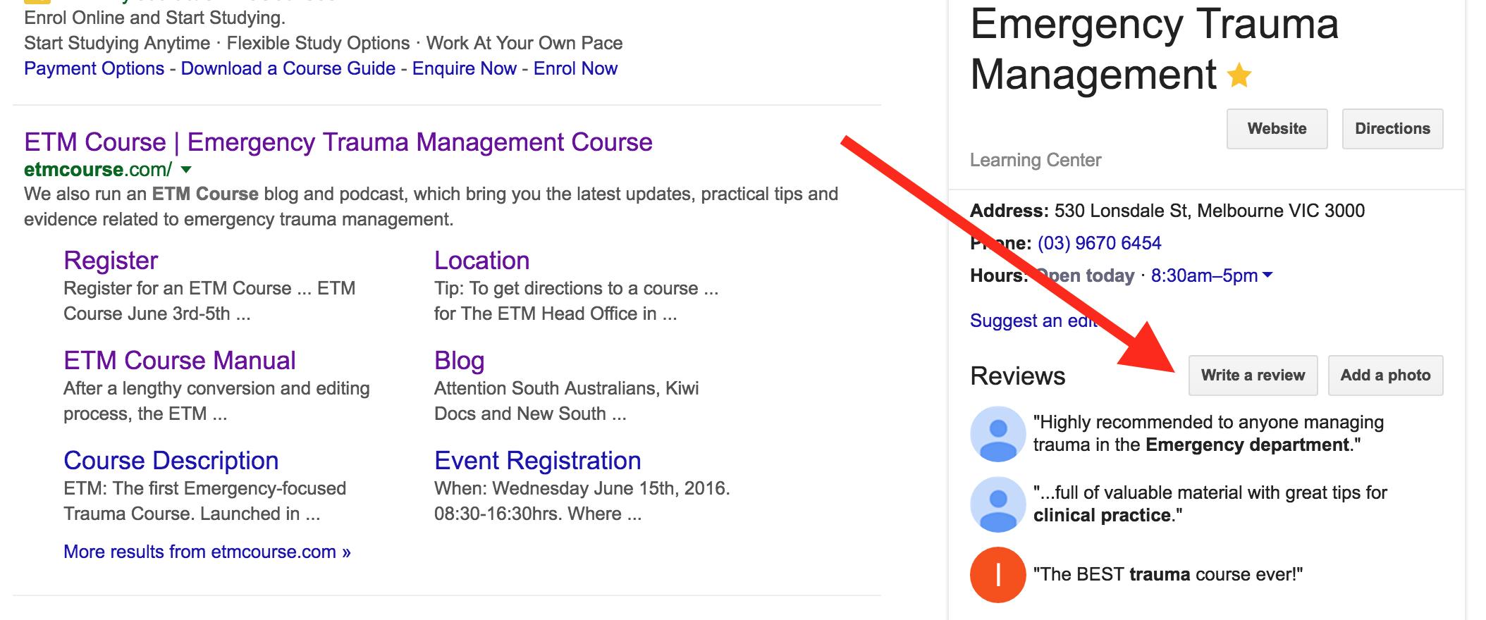 ETM Google Review